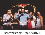 group of people having a party... | Shutterstock . vector #750093871