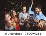 group of people having a party... | Shutterstock . vector #750094261