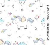 Stock vector cute hand drawn unicorn vector pattern vector illustration 750094345