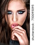 close up portrait of beautiful... | Shutterstock . vector #750095095