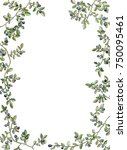 watercolor floral frame with... | Shutterstock . vector #750095461
