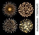 set of golden fireworks. set of ... | Shutterstock .eps vector #750096145