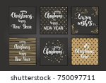 christmas cards with hand made... | Shutterstock .eps vector #750097711