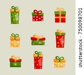 colorful christmas present... | Shutterstock .eps vector #750098701