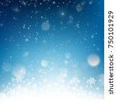 blue christmas falling snow...   Shutterstock .eps vector #750101929
