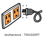 electric socket and plug  ... | Shutterstock .eps vector #750102097