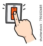 hand pushing electric switch  ... | Shutterstock .eps vector #750102685