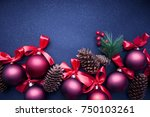 branches of christmas tree on... | Shutterstock . vector #750103261