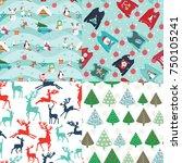 set of four christmas... | Shutterstock .eps vector #750105241