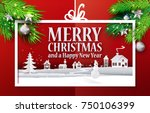 paper cut and craft merry... | Shutterstock .eps vector #750106399