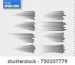 speed lines isolated. set of... | Shutterstock .eps vector #750107779