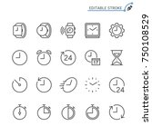 time and clock line icons.... | Shutterstock .eps vector #750108529