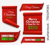 merry christmas red paper... | Shutterstock .eps vector #750109381
