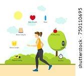 cartoon jogging girl... | Shutterstock . vector #750110695