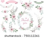 Set of floral branch, wreaths, hearts. Flower pink rose, leaves. Wedding concept. Floral magazine, poster, invite. Vector  decorative greeting card or invitation design background