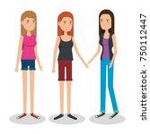 group of women avatars...   Shutterstock .eps vector #750112447
