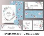 set of card with flower rose ... | Shutterstock .eps vector #750113209