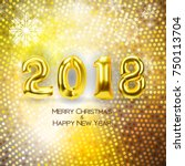 2018 new year background with... | Shutterstock .eps vector #750113704