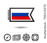 made in russia flag with travel ...   Shutterstock .eps vector #750115375