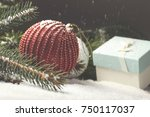 christmas decorative elements... | Shutterstock . vector #750117037