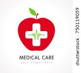 medical care logo red apple... | Shutterstock .eps vector #750119059
