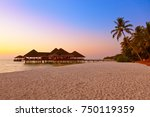 water cafe at sunset   maldives ... | Shutterstock . vector #750119359