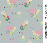 seamless pattern with cute... | Shutterstock . vector #750120745
