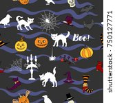 halloween seamless pattern with ... | Shutterstock . vector #750127771