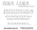 continuous line alphabet and... | Shutterstock .eps vector #750132451