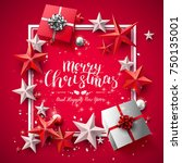 modern christmas greeting card... | Shutterstock .eps vector #750135001