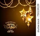 merry christmas gold | Shutterstock .eps vector #750139159
