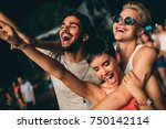 group of friends having great... | Shutterstock . vector #750142114