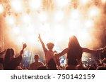 portrait of happy crowd... | Shutterstock . vector #750142159