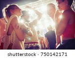 group of friends having great... | Shutterstock . vector #750142171
