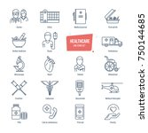 healthcare thin line icons ... | Shutterstock .eps vector #750144685