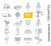 logistics thin line icons ... | Shutterstock .eps vector #750144721