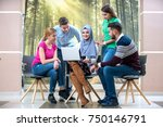 multi ethnic group of students...   Shutterstock . vector #750146791