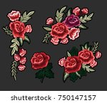 flower embroidery patch ... | Shutterstock .eps vector #750147157