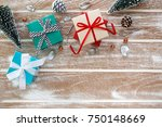 christmas background with gift... | Shutterstock . vector #750148669