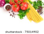 pasta spaghetti with tomatoes ... | Shutterstock . vector #75014902