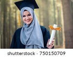 graduation  pretty girl with... | Shutterstock . vector #750150709