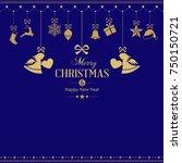 set of golden hanging christmas ...   Shutterstock .eps vector #750150721