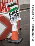 4th November 2017, London, United Kingdom:- Pro Palestine placards at a rally against the 1917 Balfour declaration - stock photo