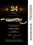 34 years golden anniversary... | Shutterstock .eps vector #750155041
