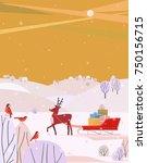 deer and santa sleigh. cheerful ... | Shutterstock .eps vector #750156715