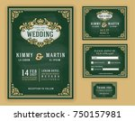 vintage luxurious wedding... | Shutterstock .eps vector #750157981