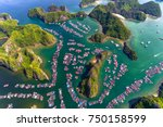 floating fishing village and... | Shutterstock . vector #750158599