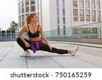 fitness sporty woman with... | Shutterstock . vector #750165259