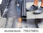 waterproofing flat roof with... | Shutterstock . vector #750170851