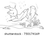 dolphins on the sea  line... | Shutterstock .eps vector #750174169